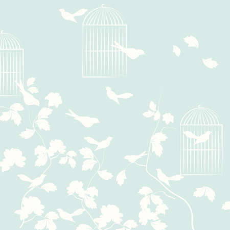 cage birds: Pigeons birds with leaves and cage. Vector