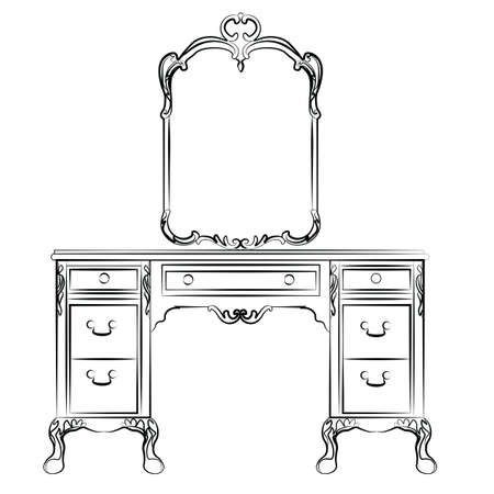 Dressing table with mirror in classic baroque style. Vector sketch