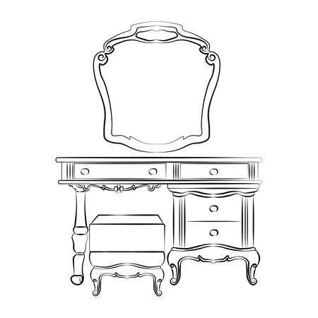 vanity table: Dressing table with mirror in classic baroque style. Vector sketch