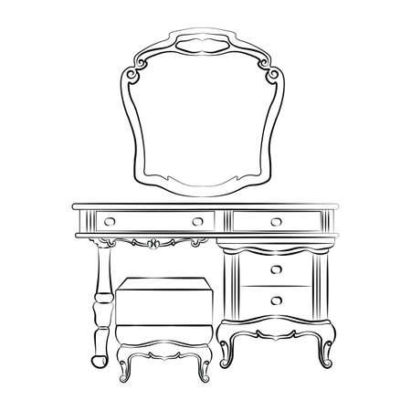 Schminktisch mit Spiegel im klassischen Barockstil. Vektor-Skizze