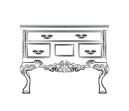 Classic table furniture with royal luxury ornaments and drawers. Vector Illustration