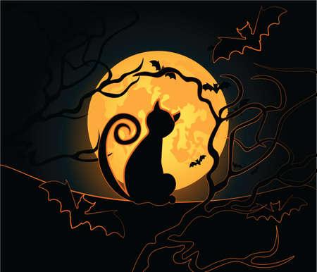 Sfondo di Halloween con gatto nero, notte di luna, il cielo e pipistrelli. Vettore