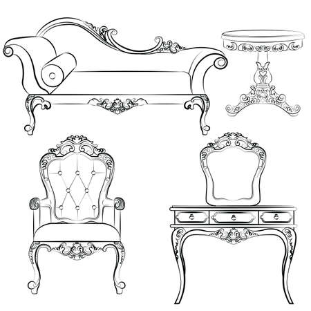 antique chair: Set of classic furniture with rich baroque ornaments. Vector