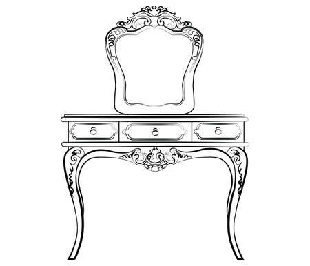 고전적인 바로크 스타일의 거울 테이블 드레싱. 벡터 스케치 일러스트