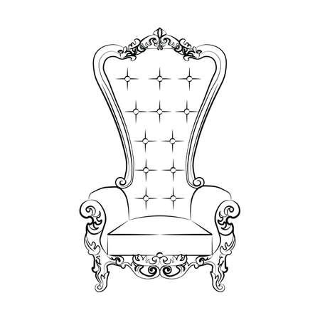 Klasyczny królewski fotel z luksusowych ozdób. Wektor szkic