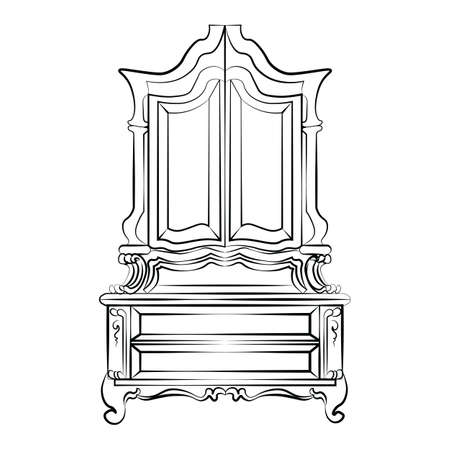console table: Classic showcase closet sideboard with ornaments. Vector