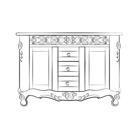 sideboard: Classic sideboard furniture with royal luxury ornaments and drawers. Vector Illustration