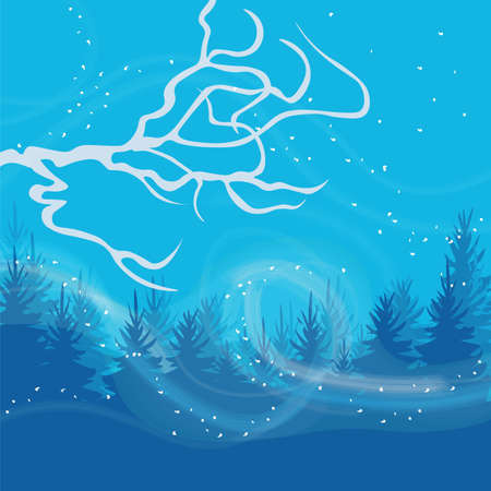 wind blowing: Winter card with cold wind blowing. Vector Illustration