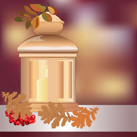 candle light: Christmas candle light and decor. Vector