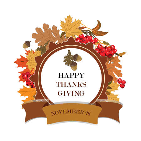 thanks giving: Thanks Giving card with leaves and viburnum fruits. Vector