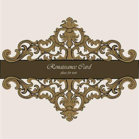 renaissance: Invitation card with Renaissance Royal classic in bronze. Vector Illustration