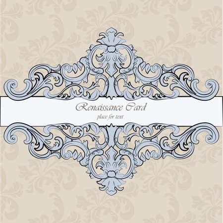 renaissance: Invitation card with Renaissance Royal classic in blue. Vector