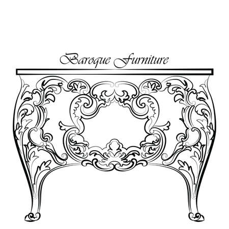 baroque furniture: Baroque Vector Classic commode table furniture with Royal Luxury ornaments. Vector Illustration