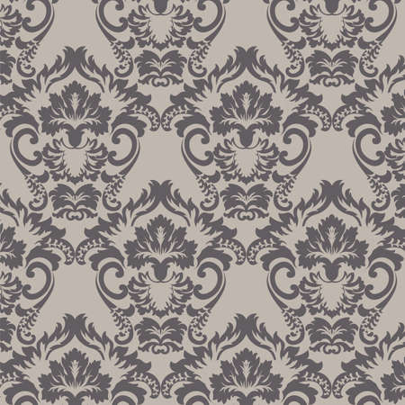 Vintage Classic Rococo Floral ornament damask pattern. Elegant luxury texture for wallpapers, backgrounds and invitation cards. Dark Grey color. Vector