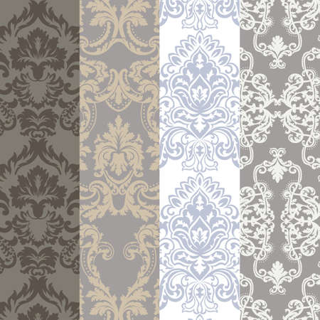 Vintage Classic Rococo Floral ornament damask pattern set. Elegant luxury texture collection for wallpapers, backgrounds and invitation cards. Trendy pastel colors. Vector Vector Illustration