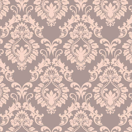 Vector Baroque floral Damask ornament pattern element. Elegant luxury texture for textile, fabrics or wallpapers backgrounds. Rose quartz color