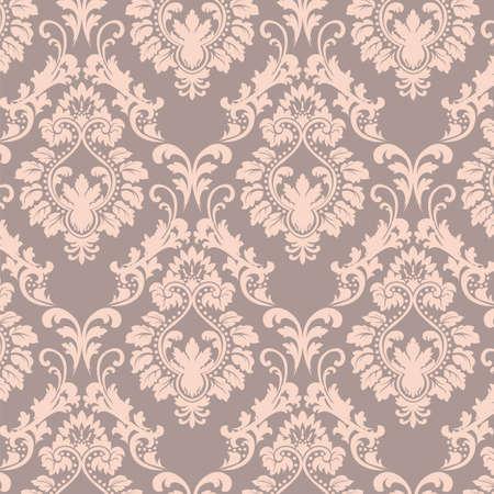 Vector Baroque floral Damask ornament pattern element. Elegant luxury texture for textile, fabrics or wallpapers backgrounds. Rose quartz color