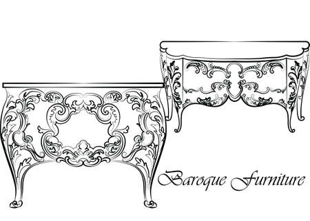 baroque furniture: Baroque Vector Classic commode table furniture set with Royal Luxury ornaments. Vector