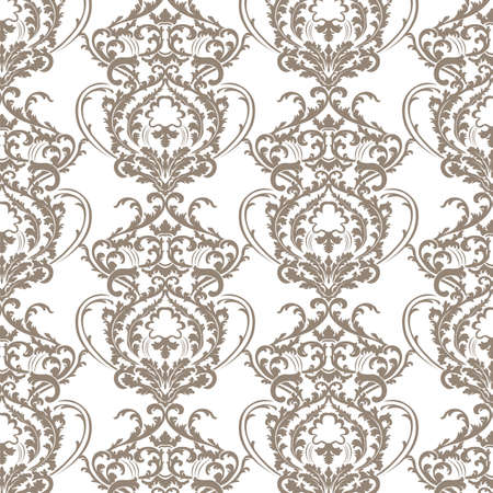 taupe: Vector Baroque floral lily Damask ornament pattern element. Elegant luxury texture for textile, fabrics or wallpapers backgrounds. Taupe color ornament