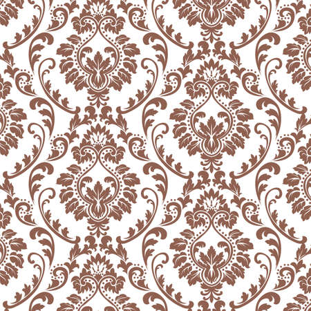 russet: Vector Baroque floral Damask ornament pattern element. Elegant luxury texture for textile, fabrics or wallpapers backgrounds. Brown russet color