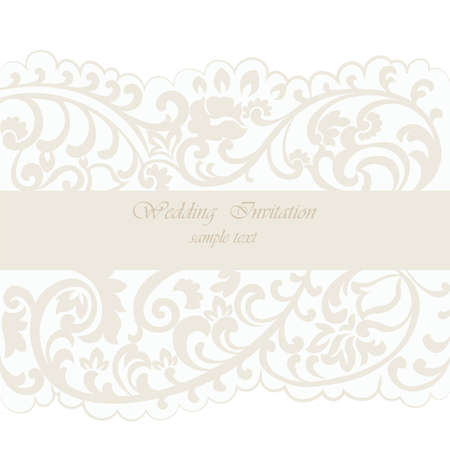 duality: Vintage Wedding Invitation card with delicate lace ornament. Cream gold color. Vector