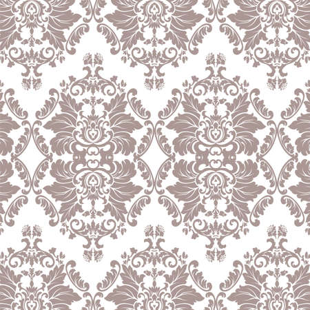 taupe: Vector Baroque floral Damask ornament pattern element. Elegant luxury texture for textile, fabrics or wallpapers backgrounds. Taupe color ornament