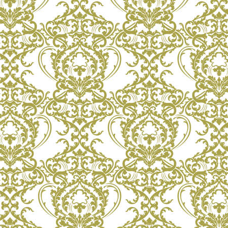 lint: Vector Baroque floral lily Damask ornament pattern element. Elegant luxury texture for textile, fabrics or wallpapers backgrounds. Green lint color ornament