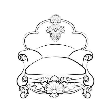 rococo: Imperial royal armchair with luxurious rococo ornaments. Vector sketch