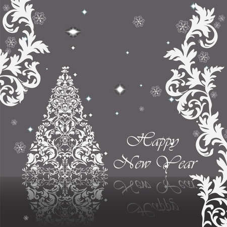 Classic royal silver ornamented New Year card. Vector