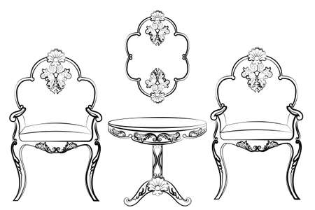 rococo: Set of classic imperial furniture with rich rococo ornaments. Vector Illustration