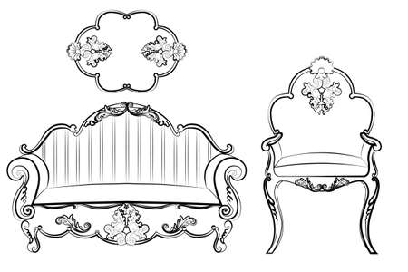 rococo: Imperial Royal Set with classic rococo damask ornaments. Vector Illustration