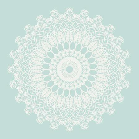 delicate: Delicate crochet lace round ornament in blue. Vector