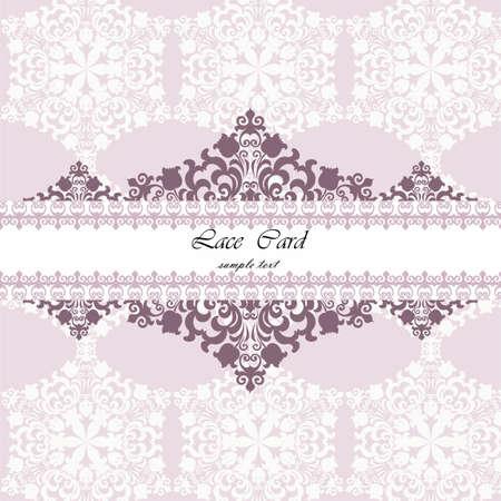 quartz: Lace card with ornament pattern background in rose quartz color. Vector