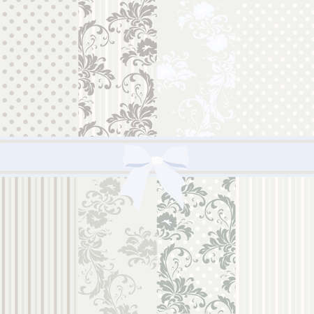 light blue lingerie: Vintage set of flower patterns in pastel colors. Vector Illustration