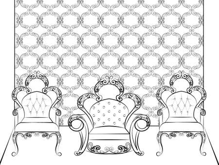 classic furniture: Classic royal furniture chairs set with luxurious ornaments . Vector sketch