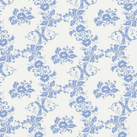serenity: Vintage ornament pattern with serenity blue flowers. Vector