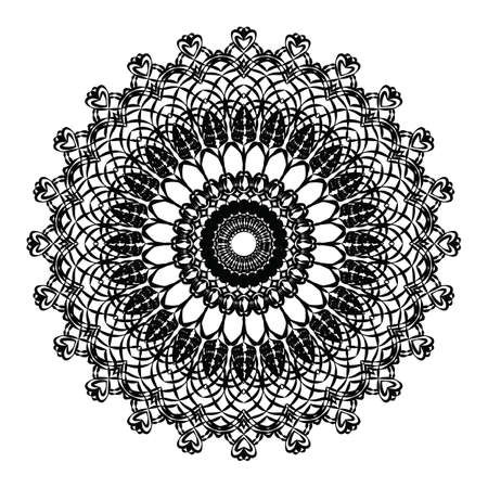 crochet: Delicate crochet lace round ornament in black. Vector
