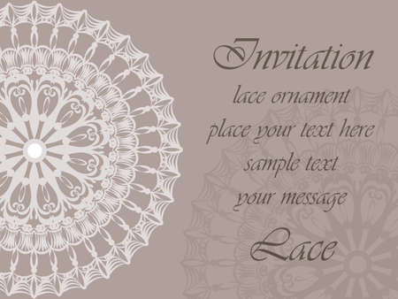 crochet: Invitation card with delicate crochet lace round ornament in light beige. Vector Illustration
