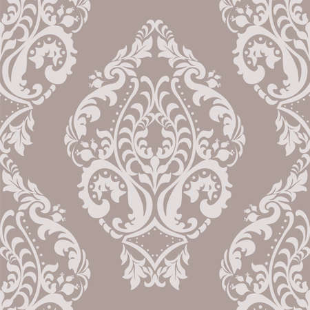 vignette: Vector Damask Pattern ornament Imperial style. Ornate floral element for fabric, textile, design, wedding invitations, greeting cards, wallpaper. Oyster pink color