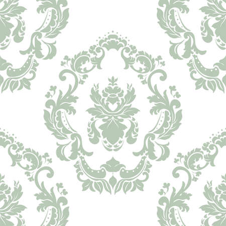 lint: Floral ornament pattern with stylized centered lilies flowers . Elegant luxury texture for wallpapers, backgrounds and invitation cards. Green olive lint color and white. Vector