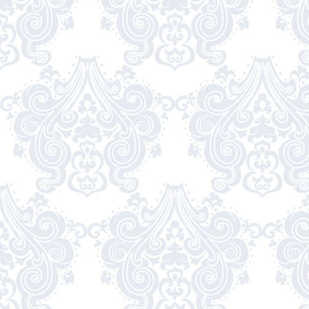 neoclassical: Vector Vintage Damask swirl flower ornament pattern. Texture for wallpapers, backgrounds and invitation cards. Serenity blue colors Illustration