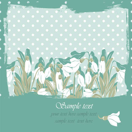revive: Snowdrop flowers Blossom spring card. Vector spring background.Calligraphic frame. Place for text. Green revive color Illustration