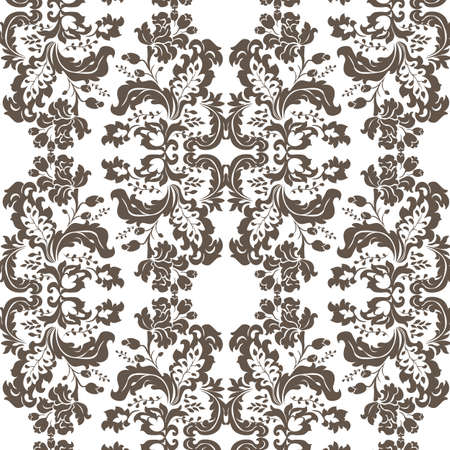 brown sugar: Vector Vintage Damask Pattern ornament Imperial style. Ornate floral element for fabric, textile, design, wedding invitations, greeting cards, wallpaper. Brown sugar color Illustration