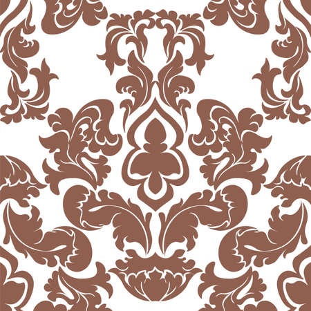 russet: Vector floral damask pattern background. Luxury classic floral damask ornament, royal Victorian vintage texture for wallpapers, textile, fabric. Delicate floral baroque element. Russet color