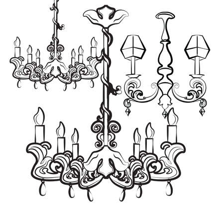 acanthus: Classic luxury style lamps collection with acanthus floral ornaments. Vector