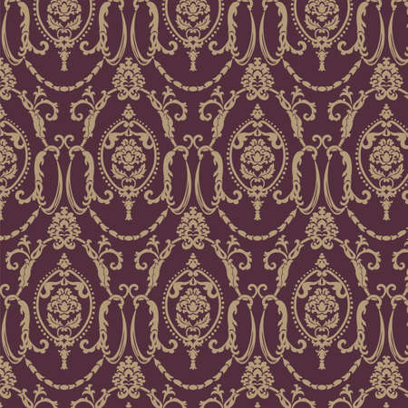 antique wallpaper: Vector damask pattern ornament. Elegant luxury texture for textile, fabrics or wallpapers backgrounds. Red color