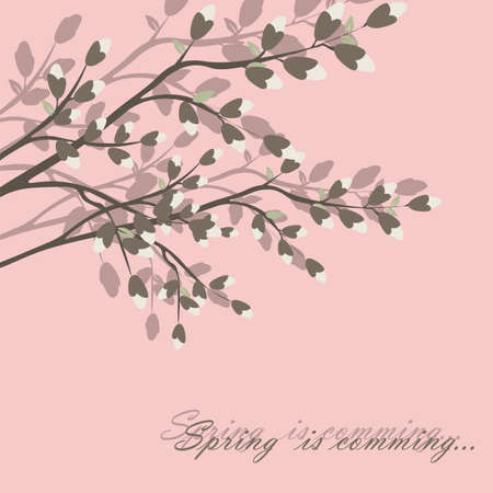 text pink: Spring is coming background tree with blossom flowers. Vector spring background. cherry blossoms on tree branches. Calligraphic frame. Place for text. Pink color