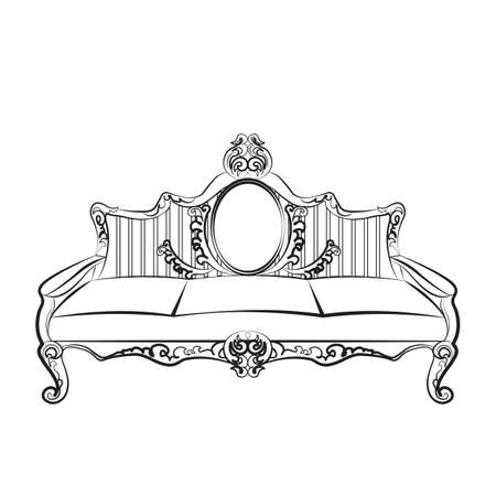 baroque furniture: Sofa furniture with luxurious ornament Baroque style. Vector sketch