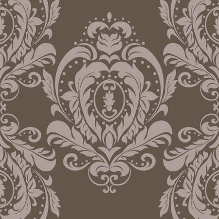 taupe: Vector floral damask ornament pattern. Elegant luxury texture for textile, fabrics or wallpapers backgrounds. Taupe color