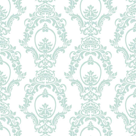 opal: Vector Vintage Damask Pattern ornament Imperial style. Ornate floral element for fabric, textile, design, wedding invitations, greeting cards, wallpaper. Opal blue color